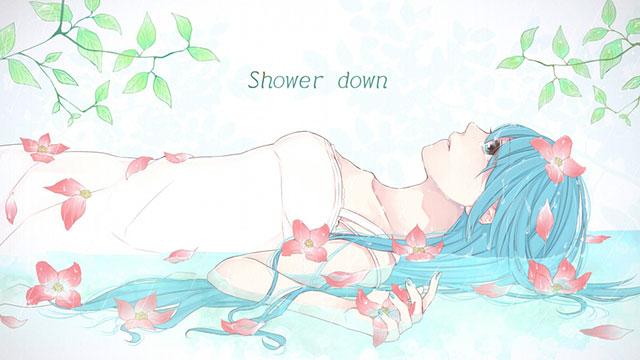 水辺に寝そべった初音ミクと花と葉っぱの綺麗なイラスト壁紙画像