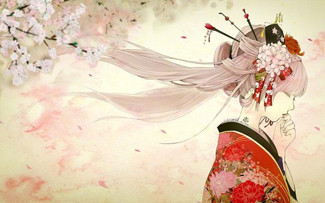 桜のカンザシと和服の初音ミクのイラスト壁紙画像