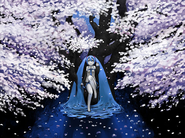 夜桜と初音ミクの綺麗なイラスト壁紙画像