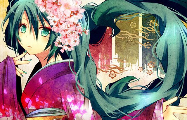 艶やかな着物姿の初音ミクと桜をデザインした綺麗なイラスト壁紙画像