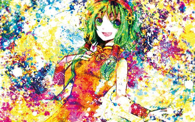 カラフル塗料でGUMIを描いた綺麗なイラスト壁紙画像