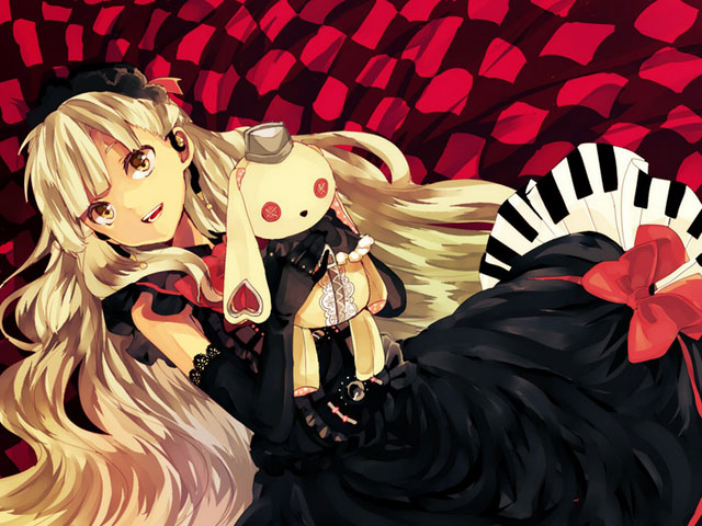 黒いドレスを着たぬいぐるみを抱いて笑顔なMAYUの可愛いイラスト壁紙画像