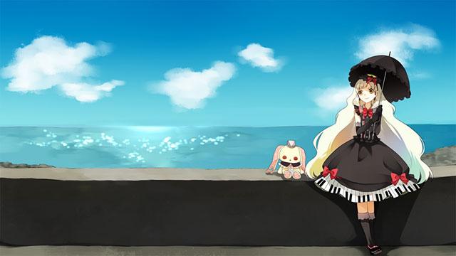 海辺に座って日傘をだしたMAYUの可愛いイラスト壁紙画像
