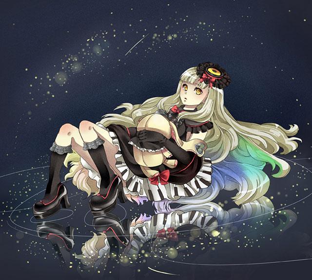 マユとぬいぐるみと星空の綺麗なイラスト壁紙画像