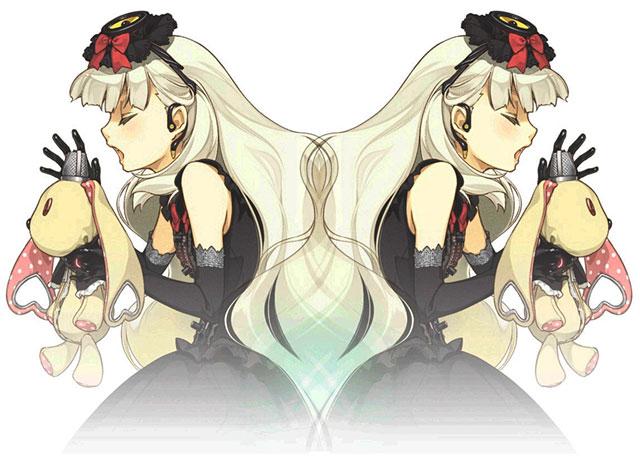 歌うマユを鏡写しにデザインした綺麗なイラスト壁紙画像