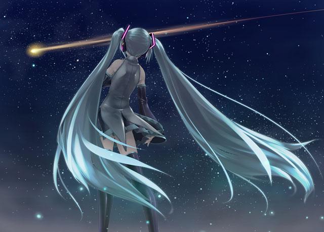 流れ星を見つめる初音ミクの後ろ姿を描いた綺麗なイラスト壁紙画像