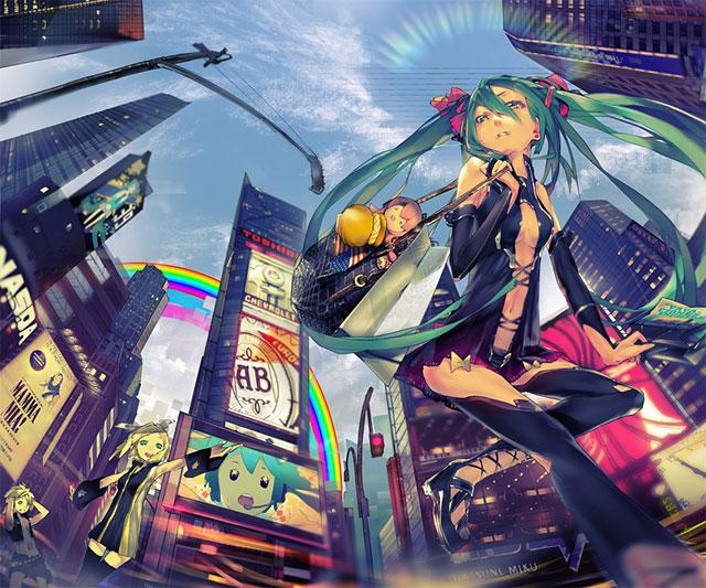都会のビル街を歩くミクのかっこいいイラスト壁紙画像