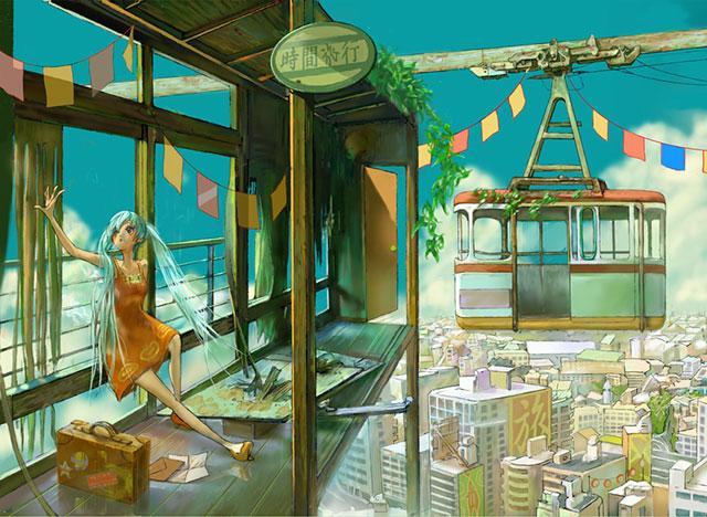 どこか懐かしいビル街の街並みとロープウェイの駅の可愛いイラスト壁紙画像