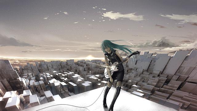 無機質なビル街と屋上でギターを弾くミクのかっこいいイラスト壁紙画像