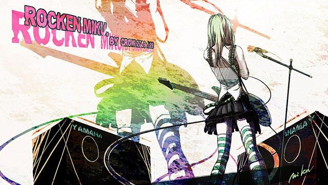 ライブ演奏中の初音ミクの後ろ姿を描いた綺麗なイラスト壁紙画像
