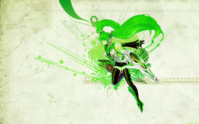 綺麗な緑色のアペミクを汚しをかけた背景にデザインしたイラスト壁紙画像