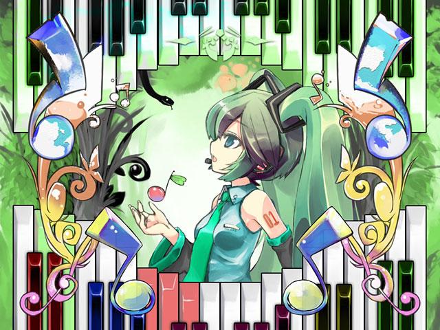ピアノの鍵盤と音符と初音ミクの綺麗なイラスト壁紙画像