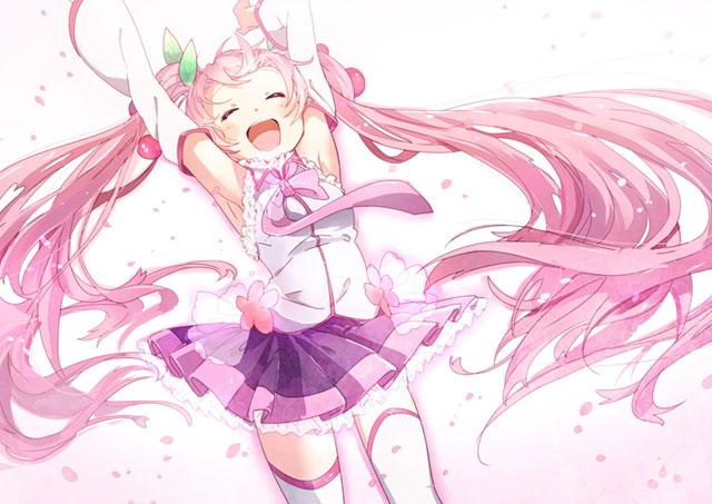 両手を上げて楽しそうにはしゃぐ桜ミクを描いた可愛いイラスト壁紙画像