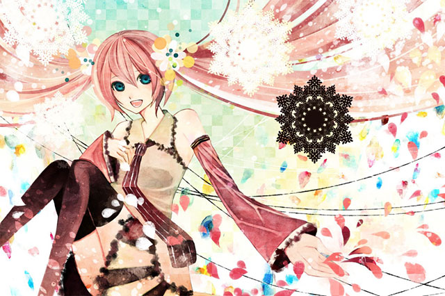 カラフルな色使いが綺麗な桜ミクのガーリーなイラスト壁紙画像