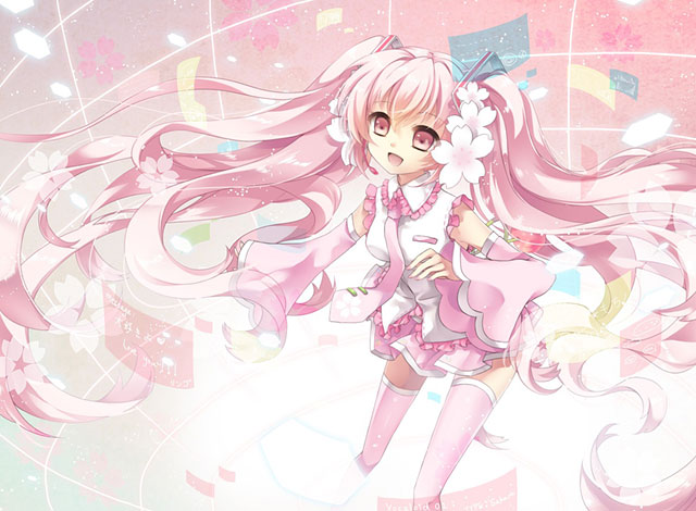 嬉しそうな笑顔の桜ミクを描いた可愛いイラスト壁紙画像