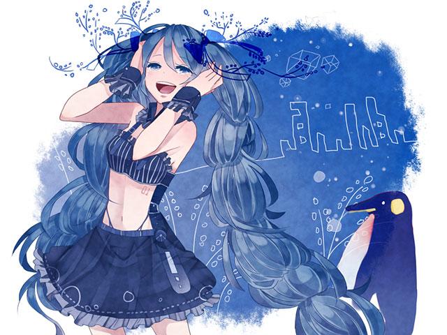 青い紙とドレスを着た初音ミクの可愛いイラスト壁紙画像