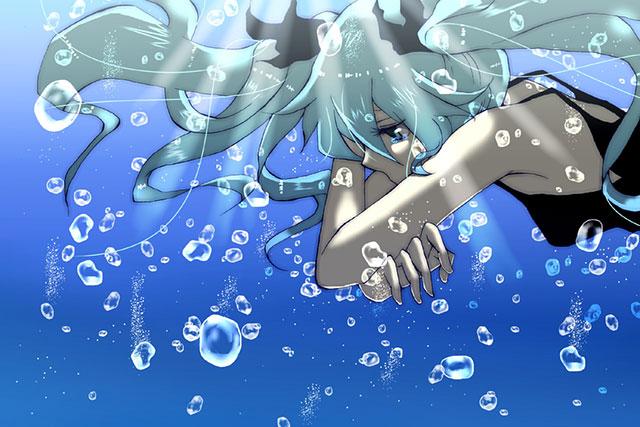 水中で涙を流す初音ミクを描いた綺麗なイラスト壁紙画像