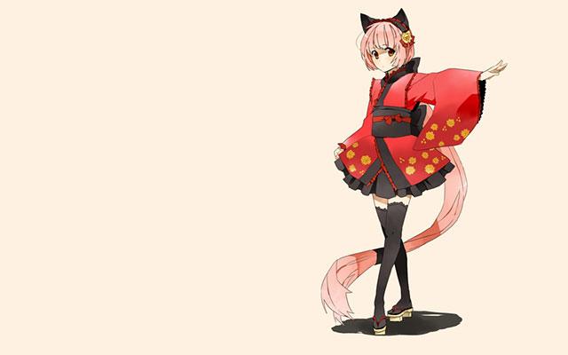 ピンクのシンプル背景に猫村いろはを描いた可愛いイラスト壁紙画像