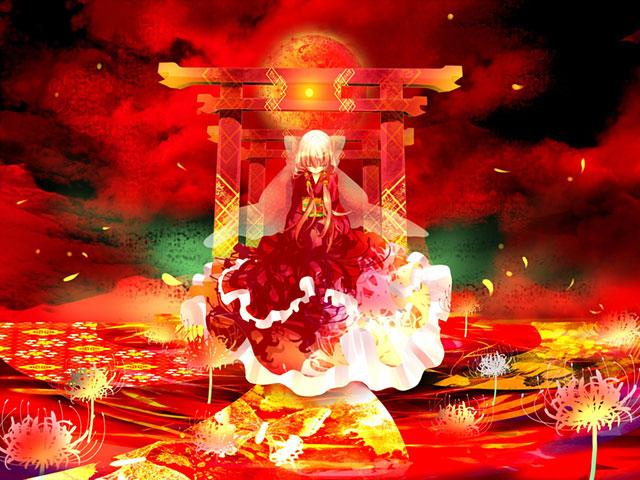 鳥居の前に座った猫村いろはを鮮やかな赤で描いた和風イラスト壁紙画像