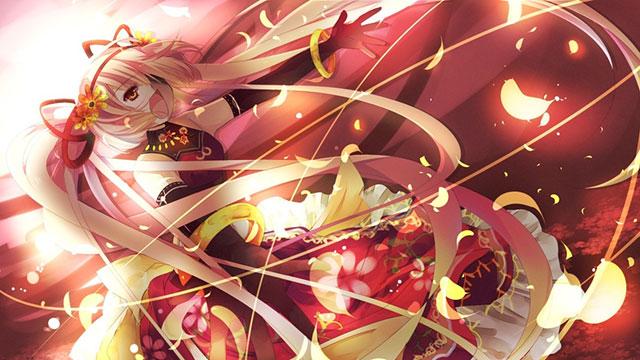 ドレス風の衣装を着て歌う猫村いろはの綺麗なイラスト壁紙画像
