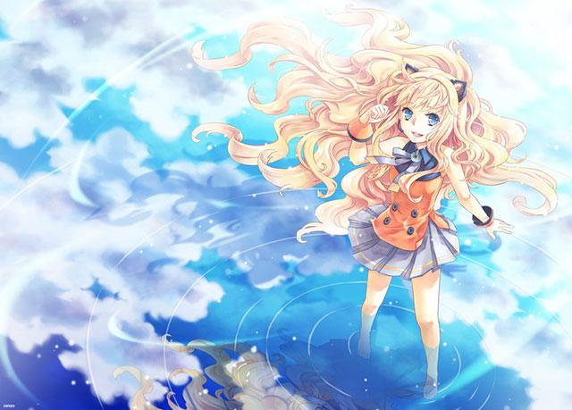 空の写りこんだ水面に立って笑顔のSeeUの可愛いイラスト壁紙画像