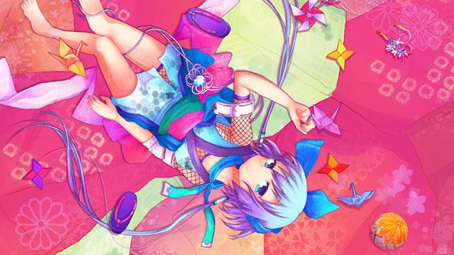 折り紙と着物を着た蒼姫ラピスの和風イラスト壁紙画像