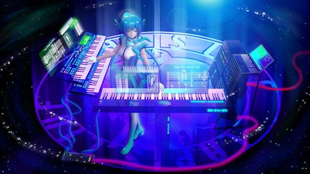 キーボードを演奏する蒼姫ラピスの綺麗なイラスト壁紙画像
