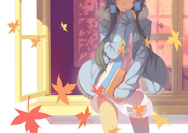 風に舞う落ち葉とルォ・テンイの綺麗なイラスト壁紙画像