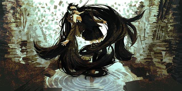 空中にふわっと浮かび上がる黒ミクのかっこいいイラスト壁紙画像