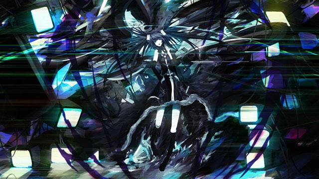 ダークな雰囲気の黒ミクのかっこいいイラスト壁紙画像