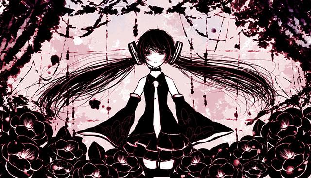 黒とピンクのツートンカラーでデザインした黒ミクの可愛いイラスト壁紙画像