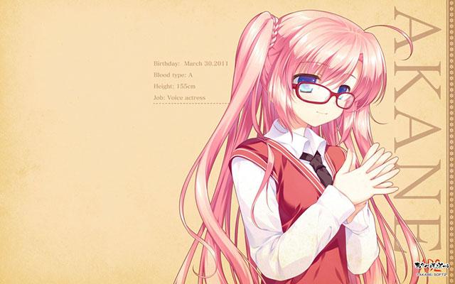 ピンクの髪の眼鏡をかけた初音ミクを描いた可愛いイラスト壁紙画像