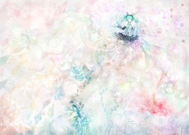 花と初音ミクをにじむようなタッチで描いた綺麗なイラスト壁紙画像