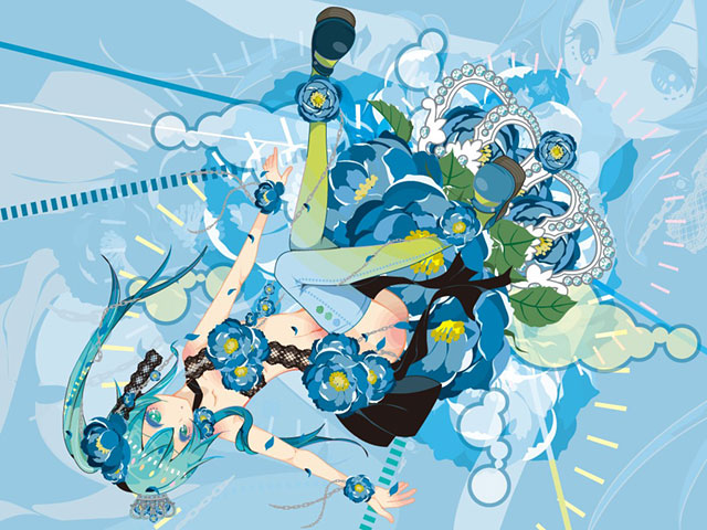 青い花と初音ミクのポップで可愛いイラスト壁紙画像