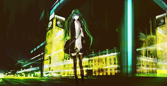 夜の街と初音ミクを粗塗りタッチで描いたかっこいいイラスト壁紙画像