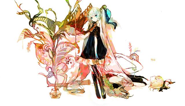 花と初音ミクを粗塗りタッチで描いたガーリーなイラスト壁紙画像
