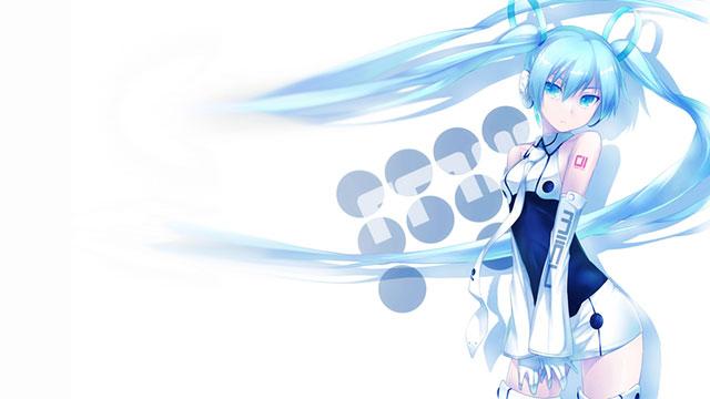 うすいブルーの衣装を着た初音ミクのクールなボカロイラスト壁紙画像