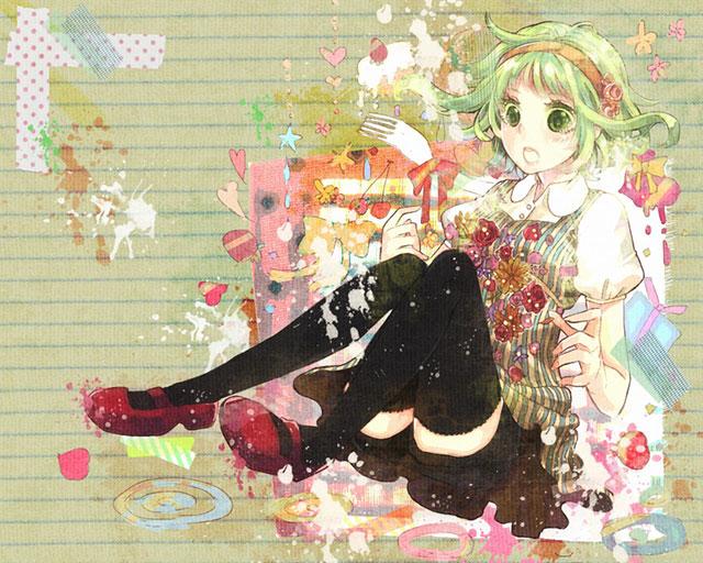 ハートや花がらデザインのグミのガーリーで可愛いボカロイラスト壁紙
