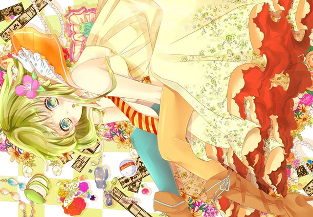花柄ドレスを着たGUMIの可愛いボカロイラスト壁紙画像