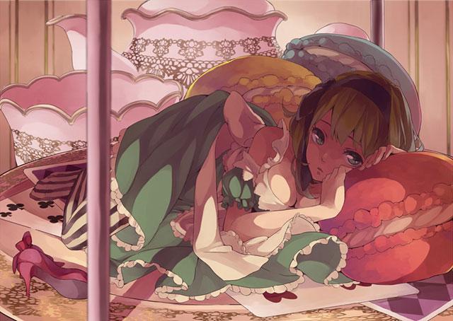 マカロンのクッションで寝るグミのガーリーで可愛いイラスト壁紙画像