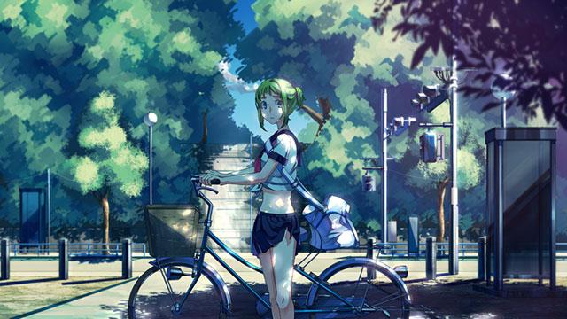 公園にいる自転車を押す制服姿のグミを描いた可愛いイラスト壁紙画像