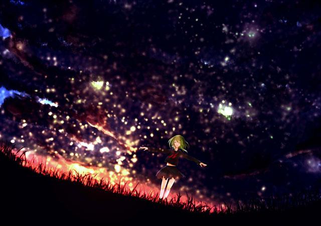 星空と草原に立つセーラ服姿のGUMIの綺麗なイラスト壁紙画像