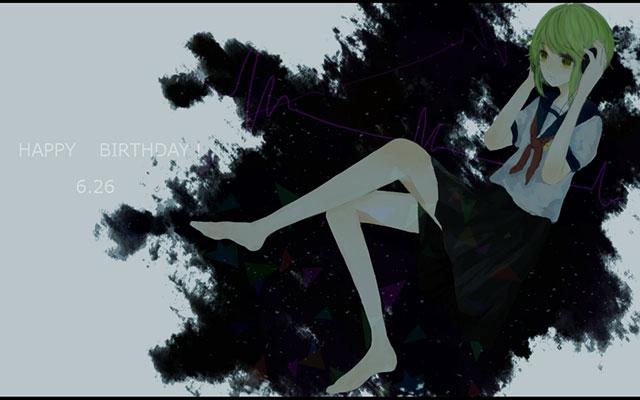 セーラー服姿で音楽を聞く裸足のグミの可愛いイラスト壁紙画像