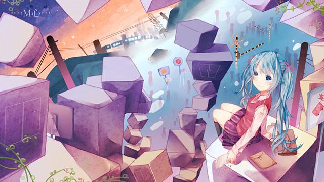 空中に浮かぶ立方体とミクのファンタジーで高画質なイラスト壁紙