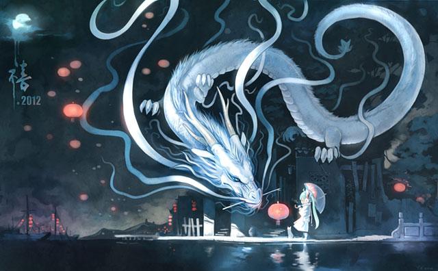 巨大な龍と初音ミクのファンタジーで高画質なイラスト壁紙画像