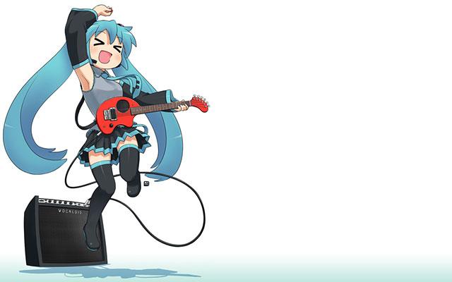 楽しそうにジャンプしながらギターを弾くちびキャラなミクの壁紙