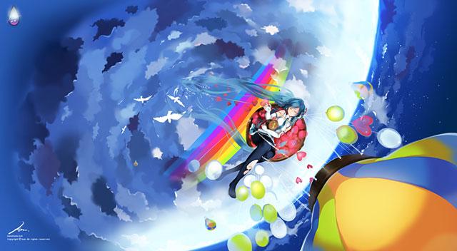 気球に乗った初音ミクと風船と空と雲の綺麗なイラスト壁紙画像