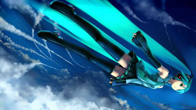 ジェット機のように空を飛ぶ初音ミクのかっこいいイラスト壁紙