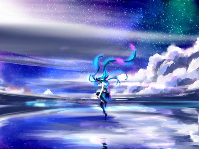 雲と湖と膝を抱えた初音ミクの美しいイラスト壁紙画像