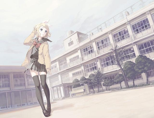 学校の校舎の前を歩く制服姿のリンの可愛いイラスト壁紙画像
